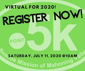 Virtual for 2020 due to COVID-19 but you still receive a White House Donut, get a Point 5K sticker and help the Mission! Click to register! Just $5